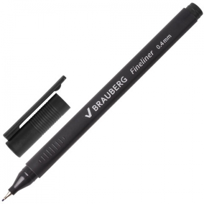 """Ручка капиллярная BRAUBERG """"Carbon"""", ЧЕРНАЯ, металлический наконечник, трехгранная, линия письма 0,4 мм, 141523"""