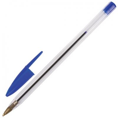 Ручка шариковая STAFF, СИНЯЯ, корпус прозрачный, узел 1 мм, линия письма 0,5 мм, 141672