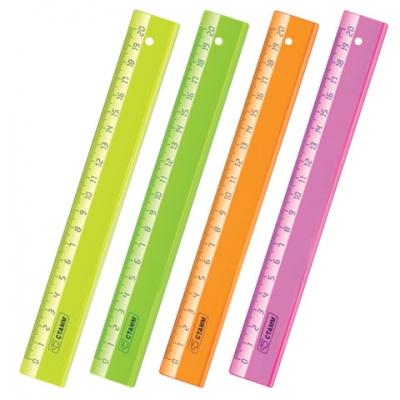"""Линейка пластиковая 20 см, СТАММ """"Neon Crystal"""", прозрачная, неоновая, ассорти, ЛН12"""