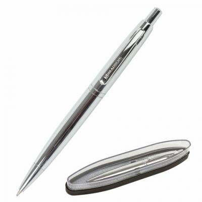 Ручка бизнес-класса шариковая BRAUBERG Opera, СИНЯЯ, корпус серебристый с хром., лини, 143486