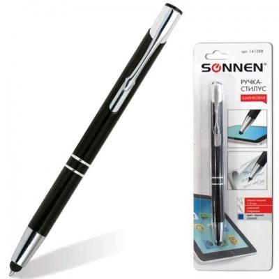 Ручка-стилус SONNEN для смартфонов/планшетов, СИНЯЯ, корпус черный, серебристые детали, линия письма 1 мм, 141588