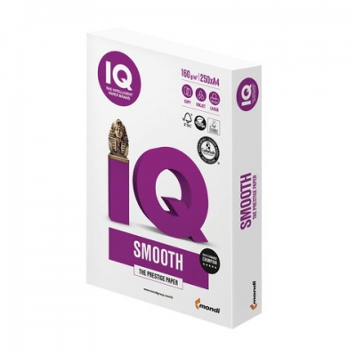 """Бумага IQ SMOOTH, А4, 160 г/м2, 250 л., класс """"А+"""", Австрия, белизна 170% (CIE)"""