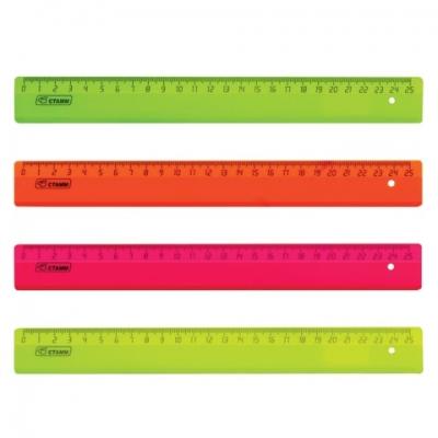 Линейка пластиковая 25 см, СТАММ, флуоресцентная, ассорти, 4 цвета, ЛН21