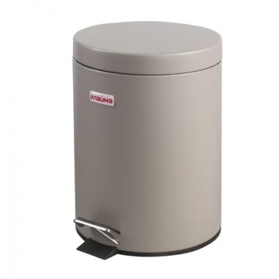 """Ведро-контейнер для мусора (урна) с педалью ЛАЙМА """"Classic"""", 5 л, серое, матовое, металл, со съемным внутренним ведром, 602849"""