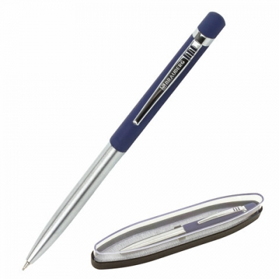Ручка бизнес-класса шариковая BRAUBERG Ottava, СИНЯЯ, корпус серебристый с синим,лини, 143487
