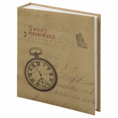 """Фотоальбом BRAUBERG """"Часы, крафт"""" на 200 фото 10х15 см, твердая обложка, термосварка, 391165"""