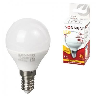 Лампа светодиодная SONNEN, 5 (40) Вт, цоколь E14, шар, теплый белый свет, 30000 ч, LED G45-5W-2700-E14, 453701