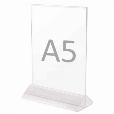 Подставка настольная для рекламных материалов ВЕРТИКАЛЬНАЯ (215х148 мм), формат А5, двусторонняя, STAFF, 291175