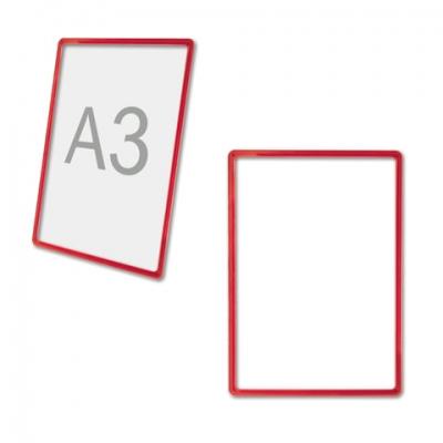 Рамка POS для рекламы и объявлений БОЛЬШОГО ФОРМАТА (297х420), А3, КРАСНАЯ, без защитного экрана, 290256