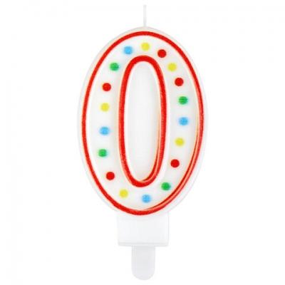 """Свеча-цифра для торта """"0"""" ДВУСТОРОННЯЯ с конфетти, 8,5 см, ЗОЛОТАЯ СКАЗКА, держатель, блистер, 591393"""