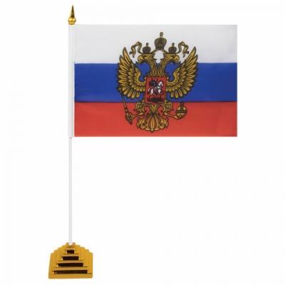 Флаг России настольный 14х21 см, с гербом РФ, BRAUBERG, 550183, RU20