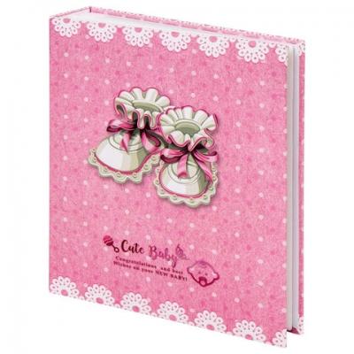 """Фотоальбом BRAUBERG """"Baby's shoes"""" на 200 фото 10х15 см, твердая обложка, термосварка, розовый, 39114"""