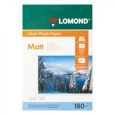 Фотобумага для струйной печати, А4, 180 г/м2, 50 листов, односторонняя матовая, LOMOND, 0102014