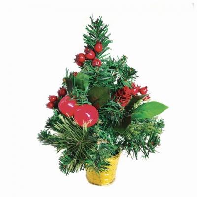 Ель искусственная декоративная ЗОЛОТАЯ СКАЗКА 30см, ПВХ, сосновые иголки, шишки, ягод, 591327