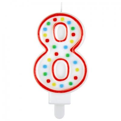 """Свеча-цифра для торта """"8"""" ДВУСТОРОННЯЯ с конфетти, 8,5 см, ЗОЛОТАЯ СКАЗКА, держатель, блистер, 591401"""