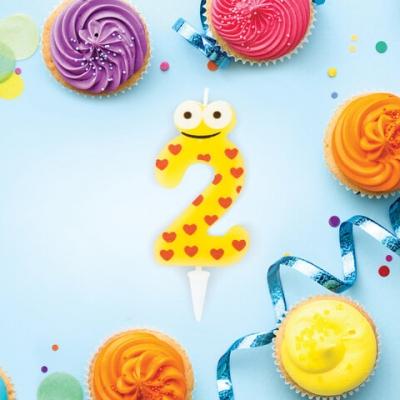 """Свеча-цифра для торта """"2"""" """"С глазками"""", 6 см, ЗОЛОТАЯ СКАЗКА, с держателем, в блистере, 591405"""