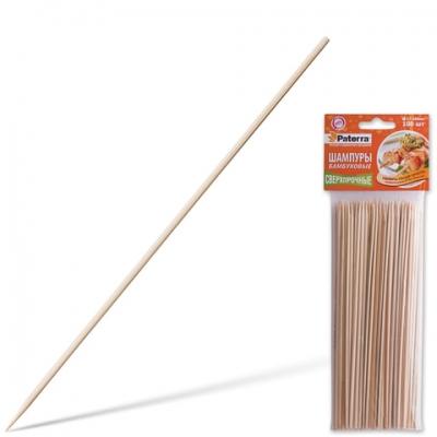 Шампуры для шашлыка PATERRA, КОМПЛЕКТ 100 шт., 200 мм, d=3 мм, бамбуковые, 401-697, 401697