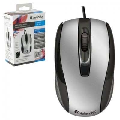 Мышь проводная DEFENDER Optimum MM-140, USB, 2 кнопки + 1 колесо-кнопка, оптическая, черно-серебристая, 52140