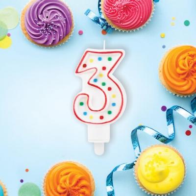 """Свеча-цифра для торта """"3"""" ДВУСТОРОННЯЯ с конфетти, 8,5 см, ЗОЛОТАЯ СКАЗКА, держатель, блистер, 591396"""