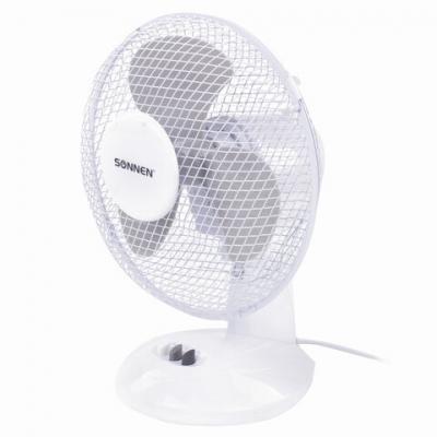 Вентилятор настольный SONNEN FT23-B6, d=23 см, 25 Вт, на подставке, 2 скоростных режима, белый/серый, 451038