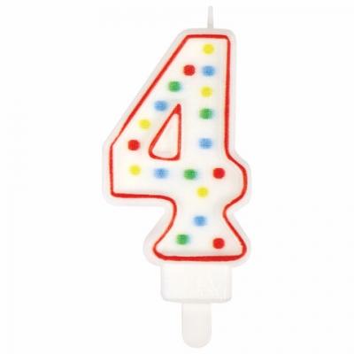 """Свеча-цифра для торта """"4"""" ДВУСТОРОННЯЯ с конфетти, 8,5 см, ЗОЛОТАЯ СКАЗКА, держатель, блистер, 591397"""