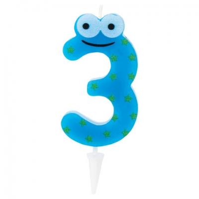 """Свеча-цифра для торта """"3"""" """"С глазками"""", 6 см, ЗОЛОТАЯ СКАЗКА, с держателем, в блистере, 591406"""