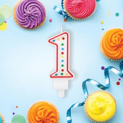"""Свеча-цифра для торта """"1"""" ДВУСТОРОННЯЯ с конфетти, 8,5 см, ЗОЛОТАЯ СКАЗКА, держатель, блистер, 591394"""
