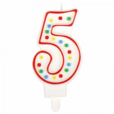 """Свеча-цифра для торта """"5"""" ДВУСТОРОННЯЯ с конфетти, 8,5 см, ЗОЛОТАЯ СКАЗКА, держатель, блистер, 591398"""