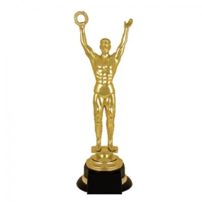 """Приз """"Оскар"""" пластиковый (100х100х305 мм), основание пластик черный, """"золото"""", 2054-300"""