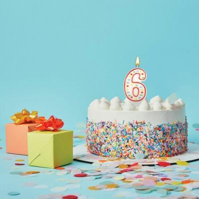 """Свеча-цифра для торта """"6"""" ДВУСТОРОННЯЯ с конфетти, 8,5 см, ЗОЛОТАЯ СКАЗКА, держатель, блистер, 591399"""