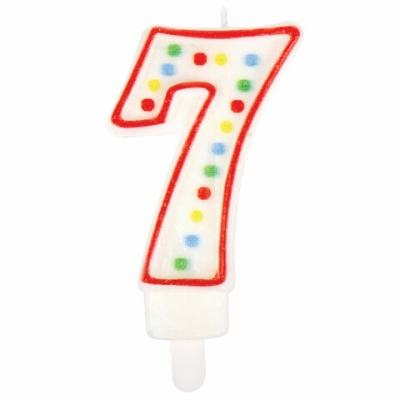 """Свеча-цифра для торта """"7"""" ДВУСТОРОННЯЯ с конфетти, 8,5 см, ЗОЛОТАЯ СКАЗКА, держатель, блистер, 591400"""