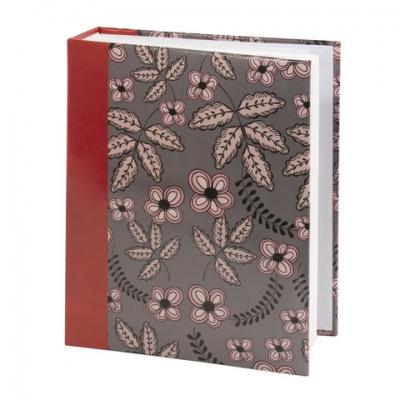 """Фотоальбом BRAUBERG на 200 фото 10х15 см, твердая обложка, """"Флора"""", серый с красным, 391121"""
