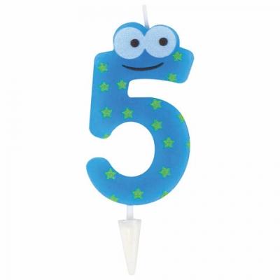 """Свеча-цифра для торта """"5"""" """"С глазками"""", 6 см, ЗОЛОТАЯ СКАЗКА, с держателем, в блистере, 591408"""