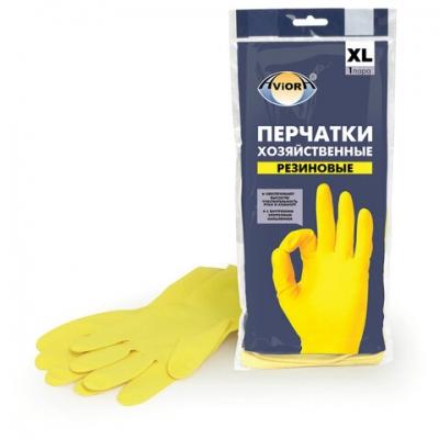 Перчатки хозяйственные латексные AVIORA, МНОГОРАЗОВЫЕ, х/б напыление, размер XL (оч.большой) 402-569