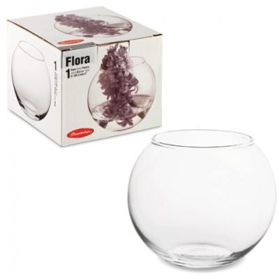 """Ваза """"Flora"""", круглая, высота 10 см, стекло, PASABAHCE, 43417"""