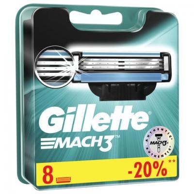 """Сменные кассеты для бритья 8 шт., GILLETTE (Жиллет) """"Mach3"""", для мужчин"""