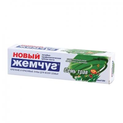 """Зубная паста 100 мл, НОВЫЙ ЖЕМЧУГ """"Семь трав"""", комплексная защита десен, 17127"""