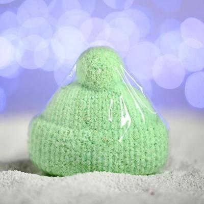 Бурлящая соль для ванны «Вязаная шапочка», зелёная, с ароматом миндаля