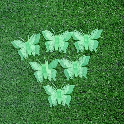 """Набор светящегося декора """"Бабочки"""" 6 шт., зелёный, 7 × 5,5 × 5 см"""