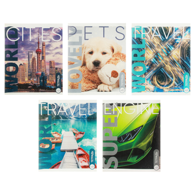 ClipStudio Тетрадь общая 48л. в клетку, офсет, обложка картон, скрепка, 5-10 дизайнов GC