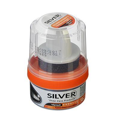 SILVER Крем-блеск для обуви, банка с губкой, 50мл, черный, 3005-01/2005-01