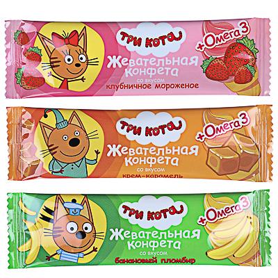 """Жевательная конфета """"ТРИ КОТА"""" с омега-3, 11г"""