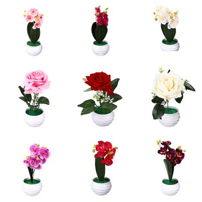 Цветы в горшке в виде орхидеи, керамика, пластик, 7х7х17,2см, 6 цветов