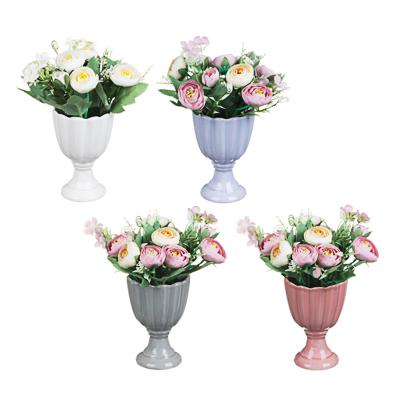 LADECOR Цветочная композиция в керамическом кашпо, ваза, 4 цвета, 9х21 см
