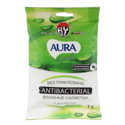BY Салфетки влажные AURA Family антибактериальные, 15шт, арт.29029