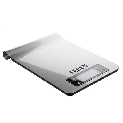 LEBEN Весы кухонные электронные, металл. на рейлинге, макс.нагрузка до 5кг (точн. измер. 1 гр)