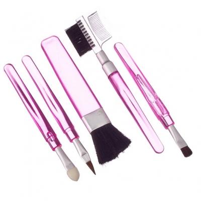 ЮниLook Набор кистей для макияжа 5шт, пластик, синтетич.нейлон, 11см