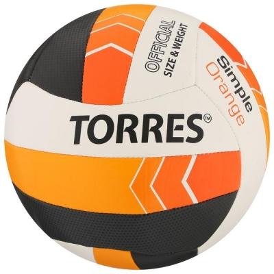 Мяч волейбольный TORRES Simple Orange, размер 5, синтетическая кожа (ТПУ), машинная сшивка, бутиловая камера, бел-г