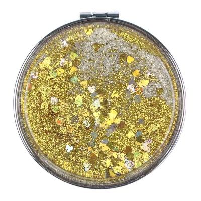 ЮниLook Зеркало карманное с глиттером, сплав, пластик, стекло, d7см, 4 цвета