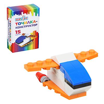 ClipStudio Точилка-конструктор в форме космического корабля, 15 дет, пластик, 9х6х3см, к/к, 2 цвета